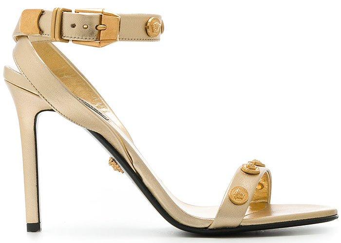 Versace Medusa-Medal Beige-Leather Sandals