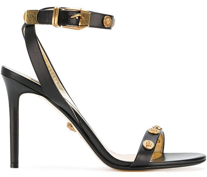 Versace Medusa-Medal Black-Leather Sandals