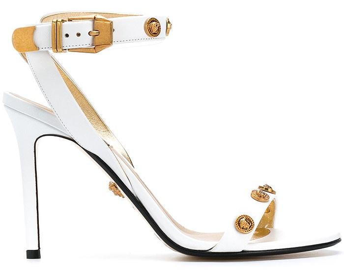 Versace Medusa-Medal White-Leather Sandals