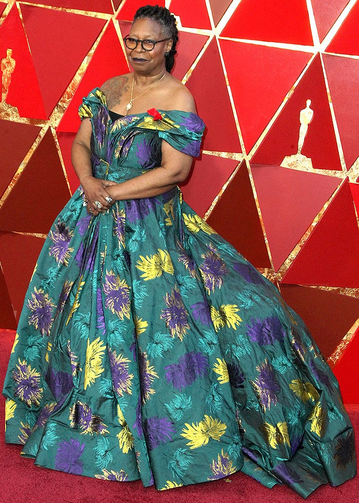 Whoopi Goldberg in Christian Siriano printed ball gown and hiker boots at the 2018 Oscars.