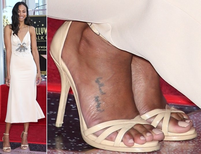Zoe Saldana showed off her exposed corn situation in Miu Miu beige-leather ankle-strap sandals
