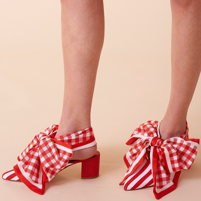 Red and white striped cotton Amber mules