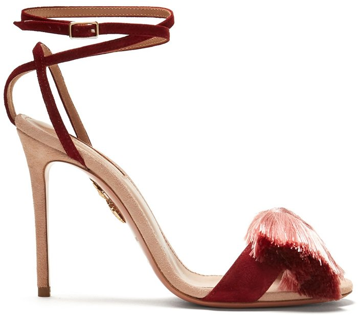 This statement-making sandal is made from velvety suede in a palette of cosmopolitan dark chilli and elegant powder pink