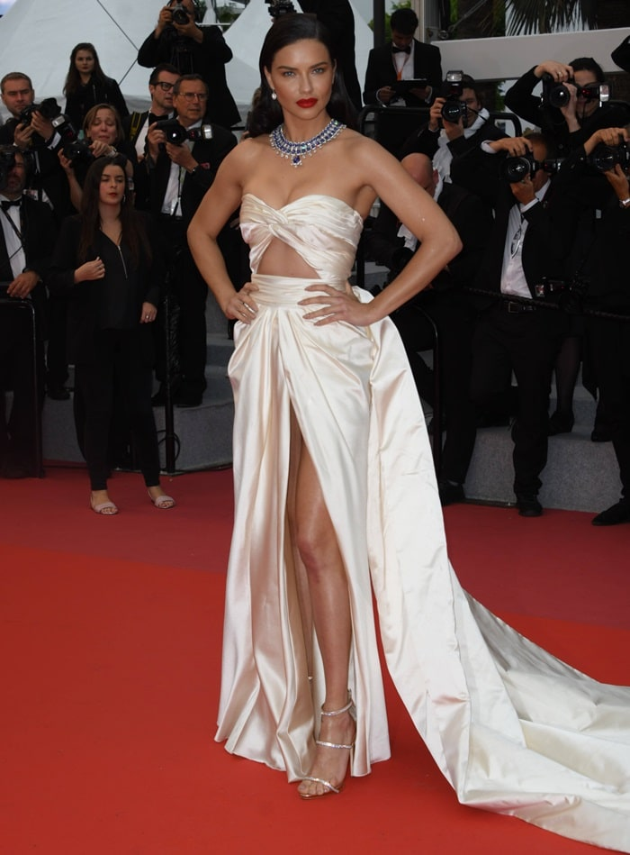 Adriana Lima turned heads at a screening of 'Burning' at Palais des Festivals in Cannes, France, on May 16, 2018