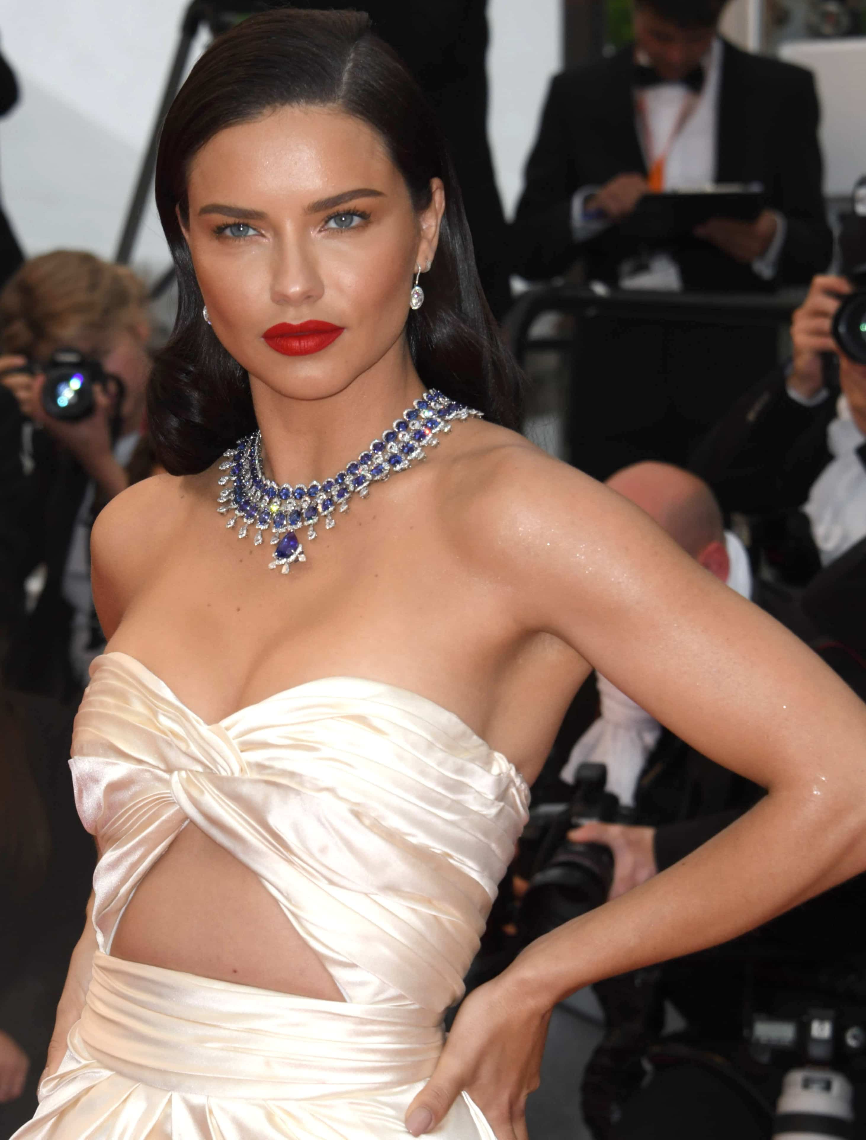 Adriana Lima's statement blue and white gold necklace with tanzanites
