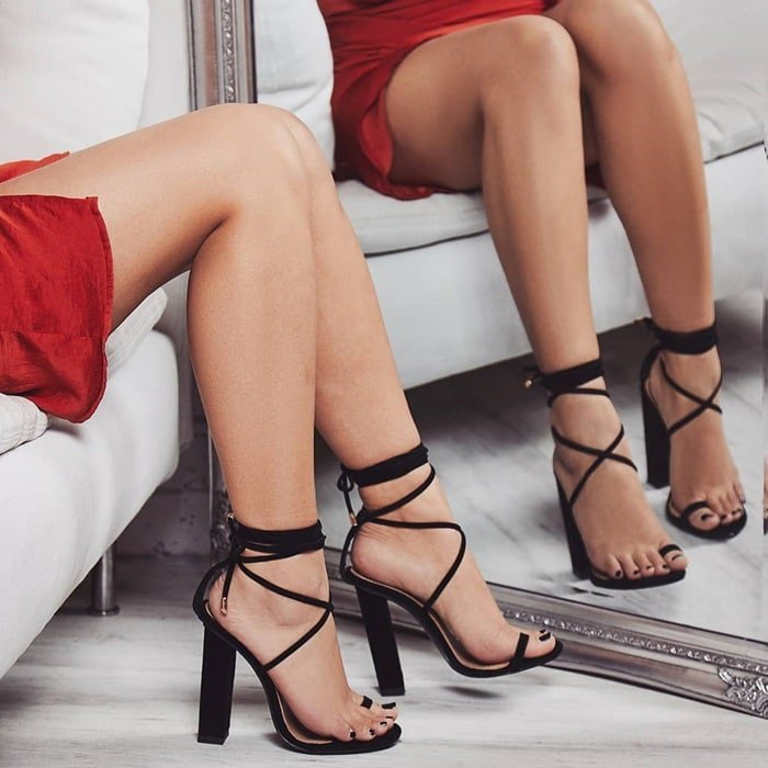 Black 'Alexi' Lace Up Block Heel In Faux Suede