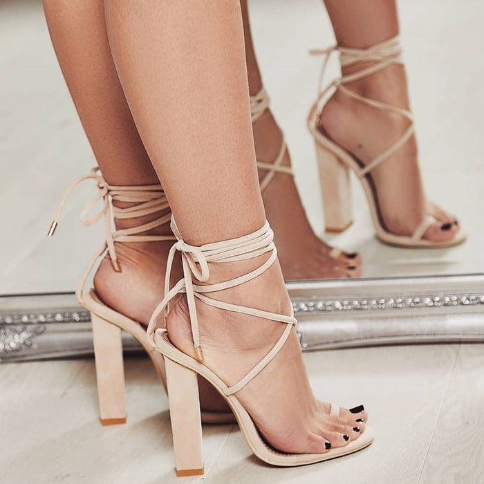 Nude 'Alexi' Lace Up Block Heel In Faux Suede