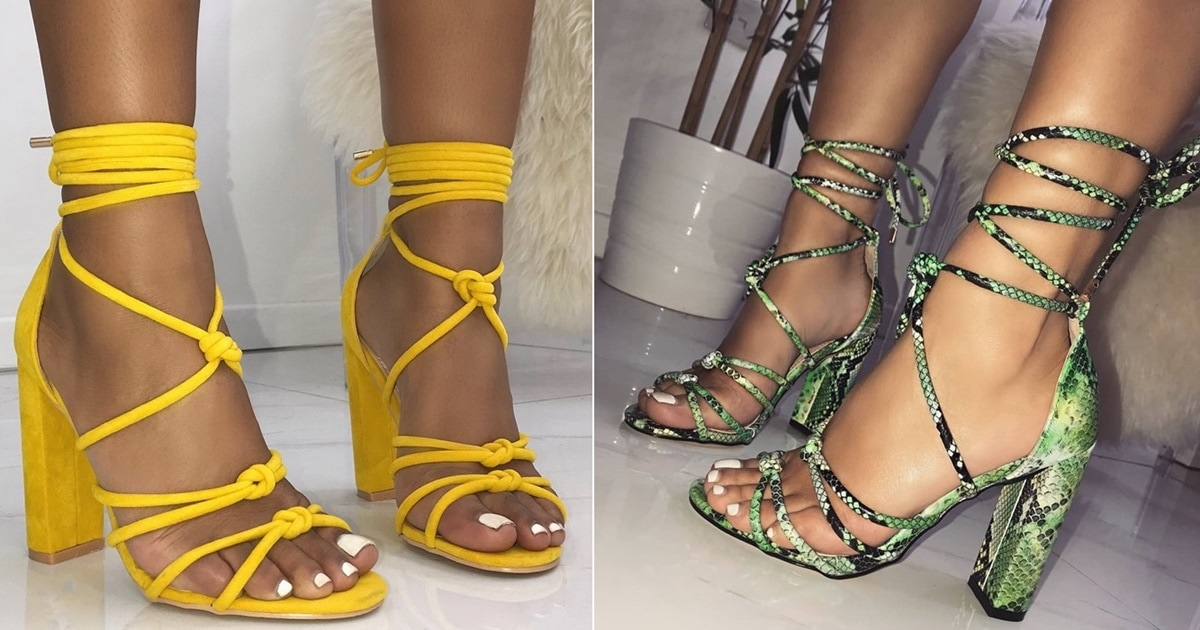 63ec5a148c1 Knot Lace Up Block Heels in Black