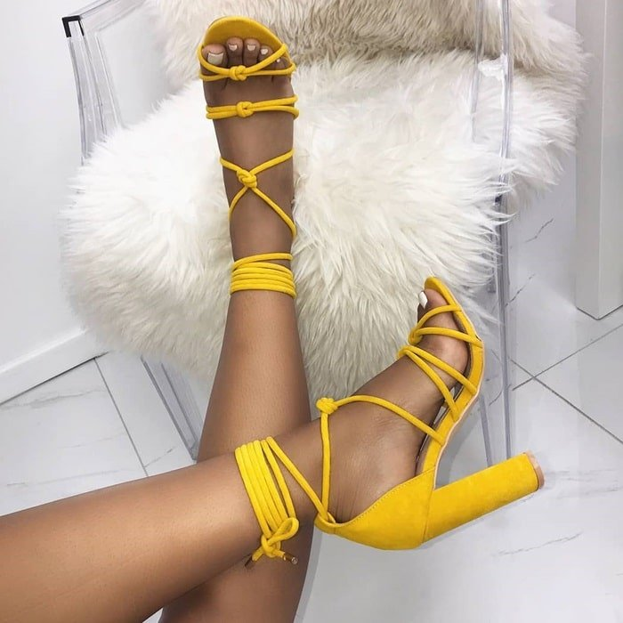 Knot Lace Up Block Heels