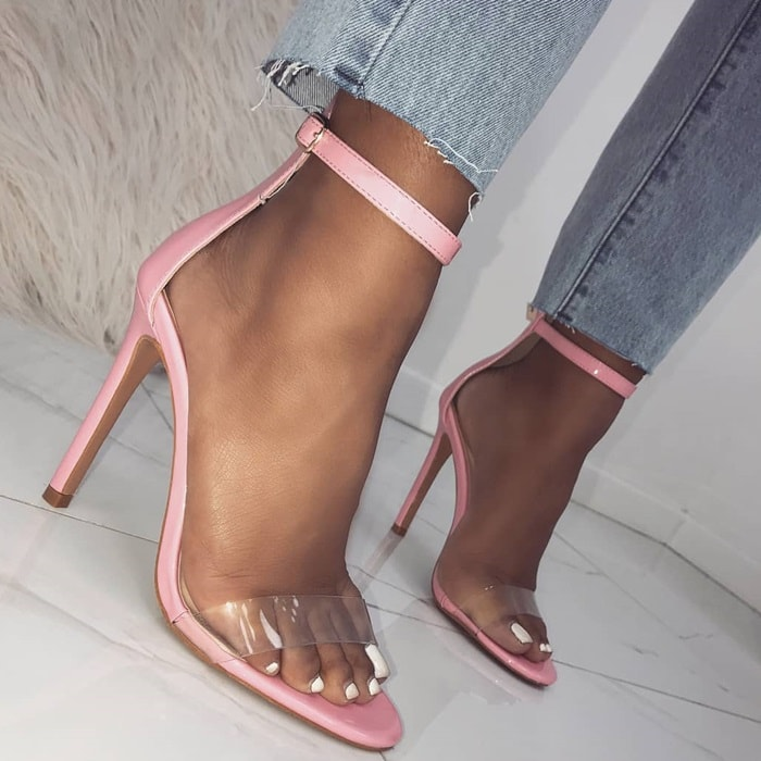 Pink Clear Barely There 'Amaya' Heels