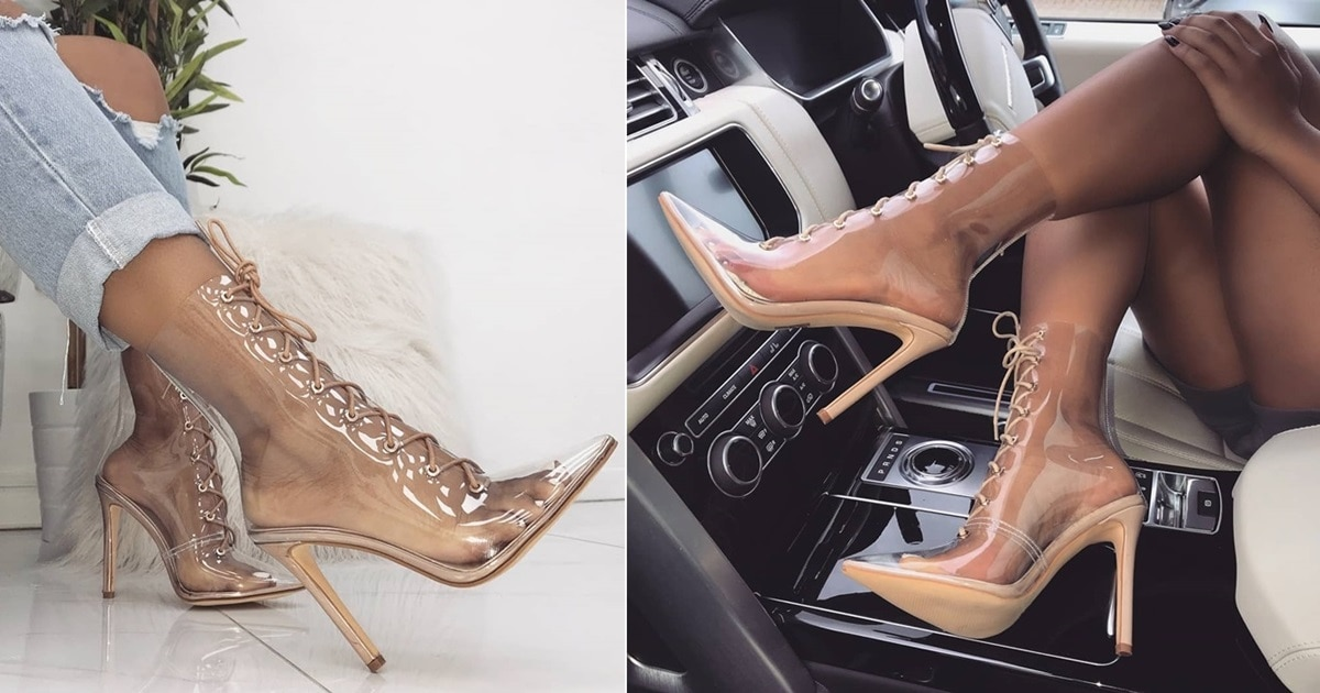 Clear Lace Up Ankle Boots In Rose Gold Nude And Orange