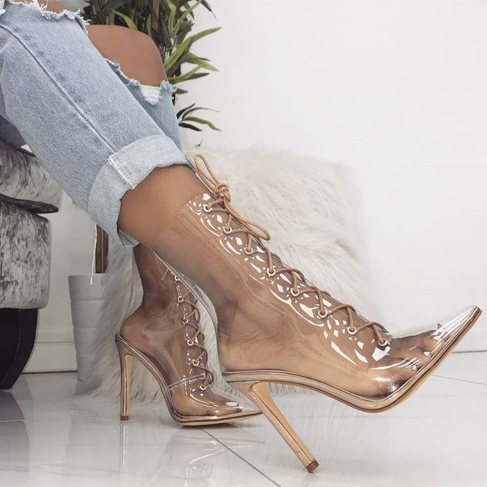 'Andrea' Clear Lace Up Ankle Boots
