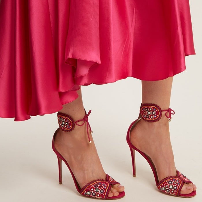 Aquazzura's honeysuckle-pink suede Jaipur sandals are exquisitely crafted in Italy