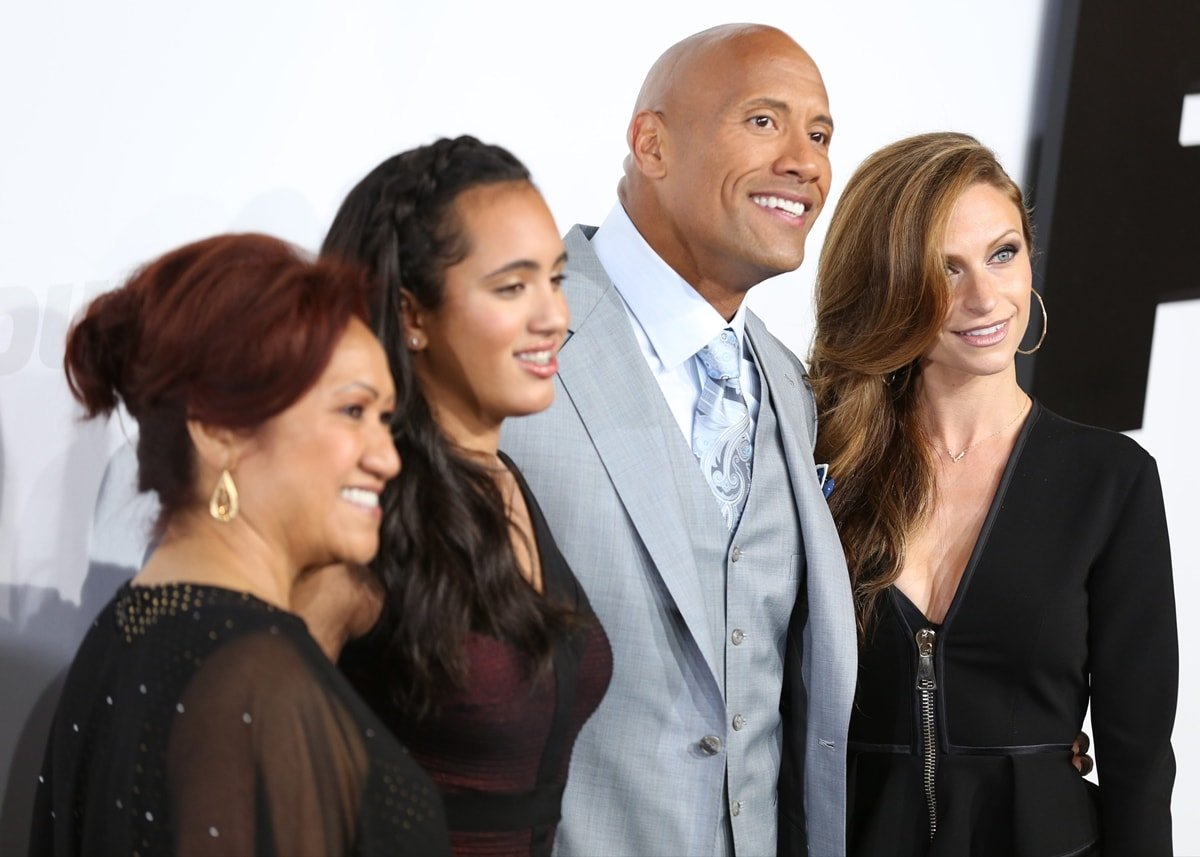 Dwayne Johnson with his wife Lauren Hashian, his mother Ata Johnson, and his daugther Simone Alexandra Johnson whom he shares with his ex-wife Dany Garcia