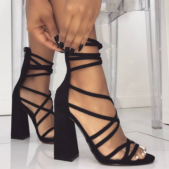 Black 'Avery' heels featuring multi crossover straps, back zip and block heel