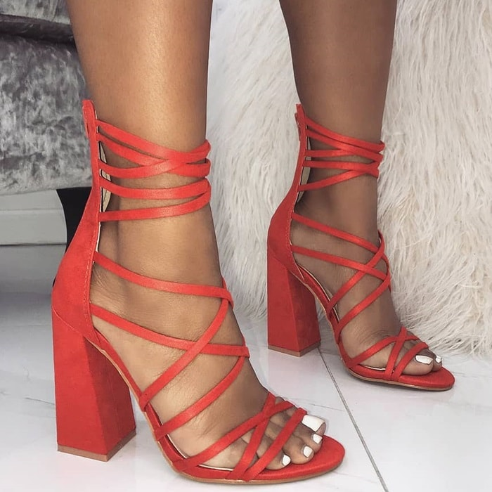 Melon 'Avery' heels featuring multi crossover straps, back zip and block heel