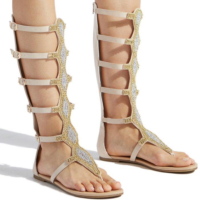 Blush Embellished Mid-Calf Flat Gladiator Sandals
