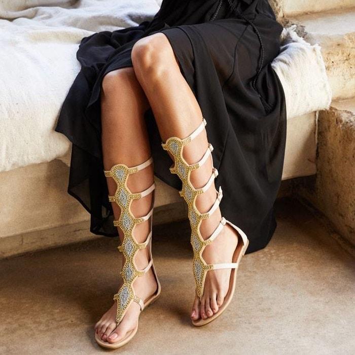 Blush embellished mid-calf flat gladiator sandals with five adjustable buckles