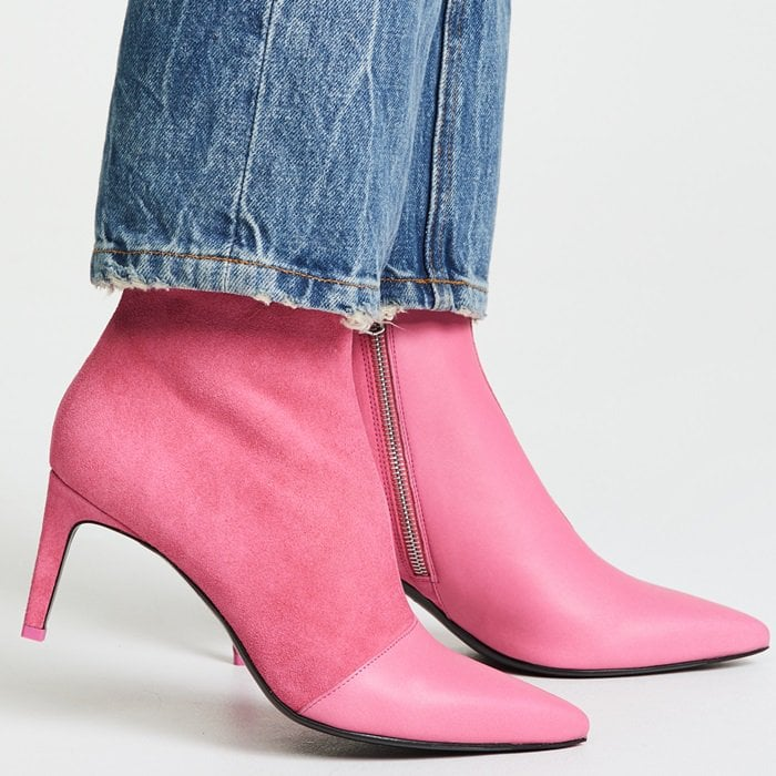 Rag & Bone's Beha ankle boots are assembled in Italy from pink smooth leather and soft suede