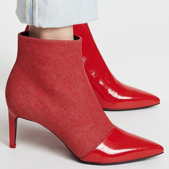 Red Denim Beha Pointy Toe Booties