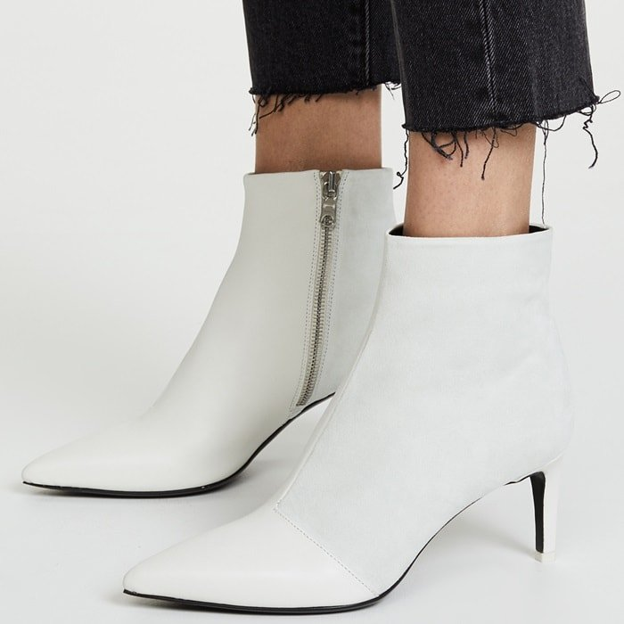 White Beha Pointy Toe Booties