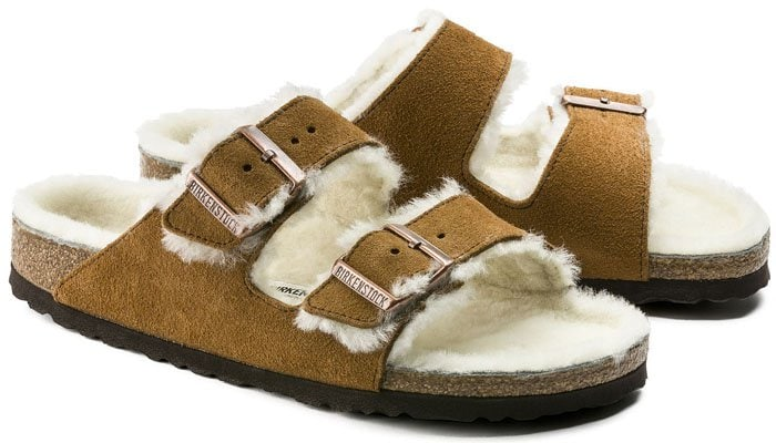 Birkenstock 'Arizona' Shearling-Lined Suede-Leather Sandals in Mink Suede