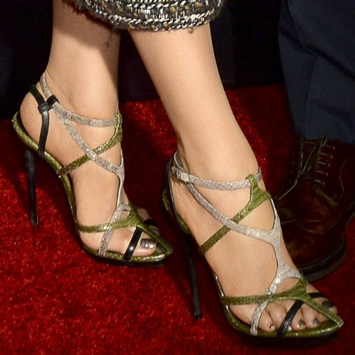 Blake Lively's feet in strappy Balenciaga sandals