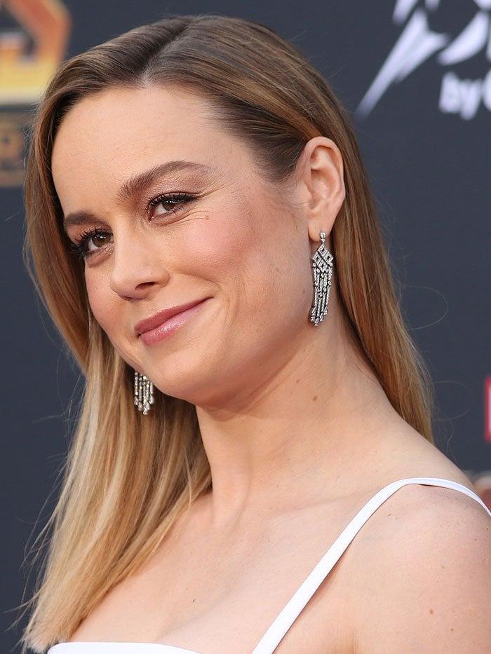 Brie Larson wearingTiffany & Co. chandelier earrings.