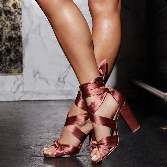 Block Heeled 'Celina' Sandal With Knotted Detail