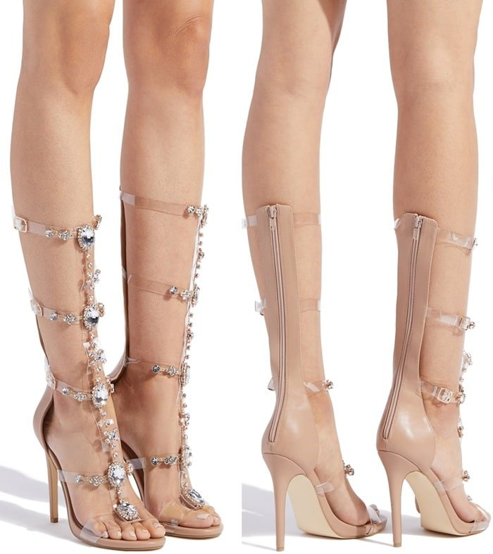 Jeweled Platform Heeled Gladiator 'Charlotte' Sandals