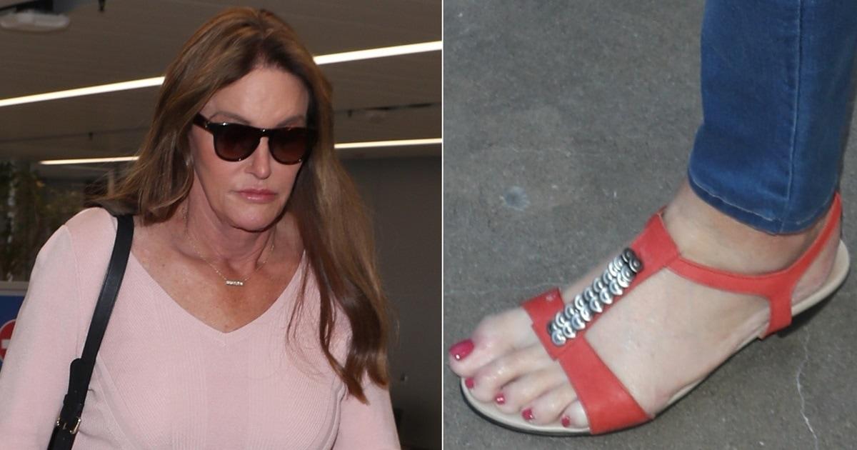 Caitlyn Jenner Shows Off Red Pedicure In Embellished Sandals
