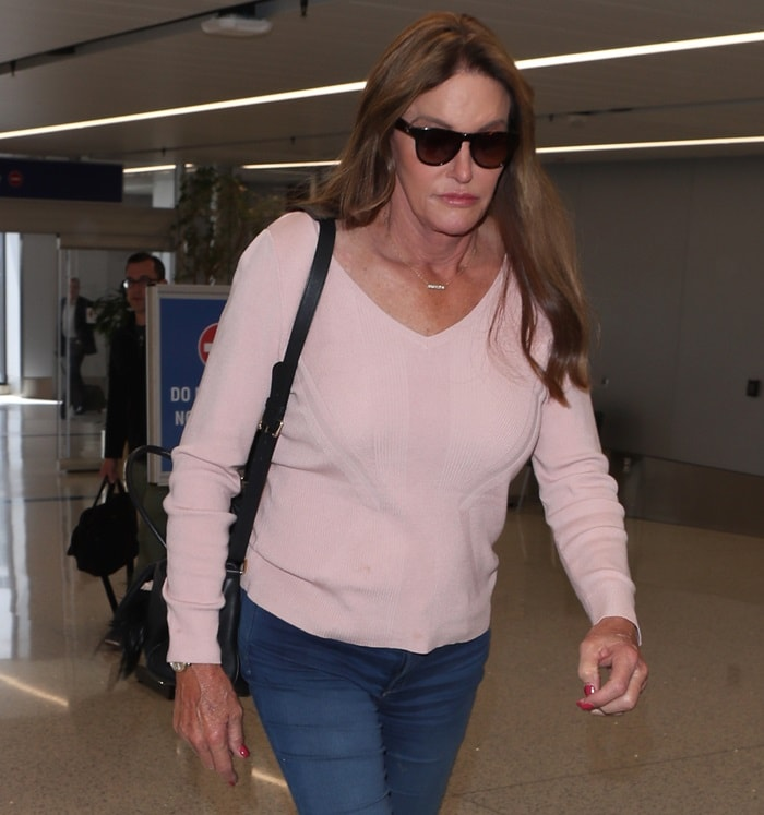 Caitlyn Jenner arrives at LAX International Airport in Los Angeles on April 12, 2018