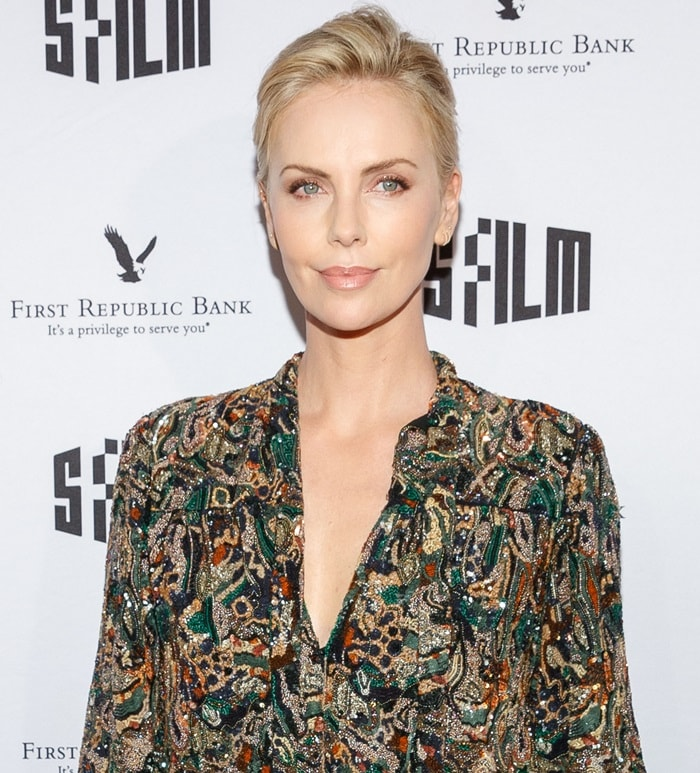 Charlize Theron wearing an embellished blouseat the special premiere of her latest film 'Tully'