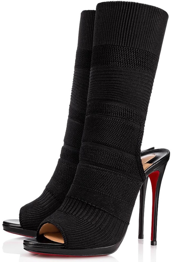 Made in Italy, this peep-toe design features a comfortable sock-style silhouette