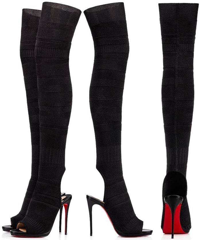 Black Maille Tricot Fabric 'Cheminetta' Knee-High Peep-Toe Boots