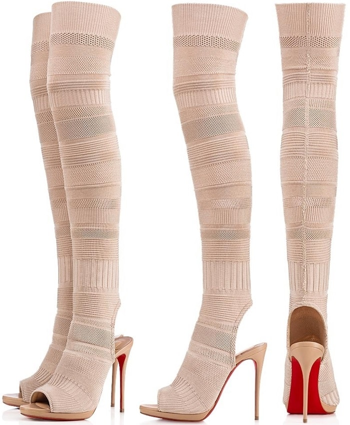 Beige Maille Tricot Fabric 'Cheminetta' Knee-High Peep-Toe Boots