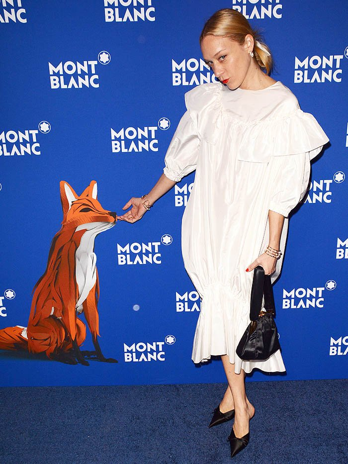 Chloe Sevigny wearing her Balenciaga 'Knife' satin mules at the 75th Anniversary of Le Petit Prince hosted by Montblanc event,