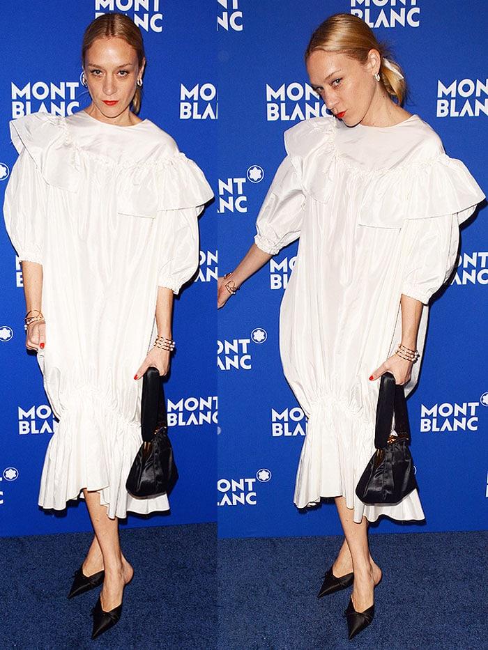 Chloe Sevigny in a Simone Rocha ruffled balloon dress and Balenciaga 'Knife' mules.