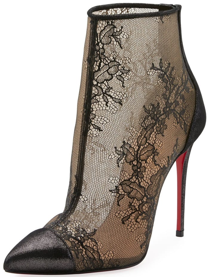 Christian Louboutin Gipsy Booties Lace Red Sole Ankle Boot