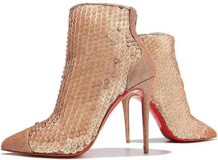 Christian Louboutin Gipsy bootie in sequined tulle with metallic brocade trim
