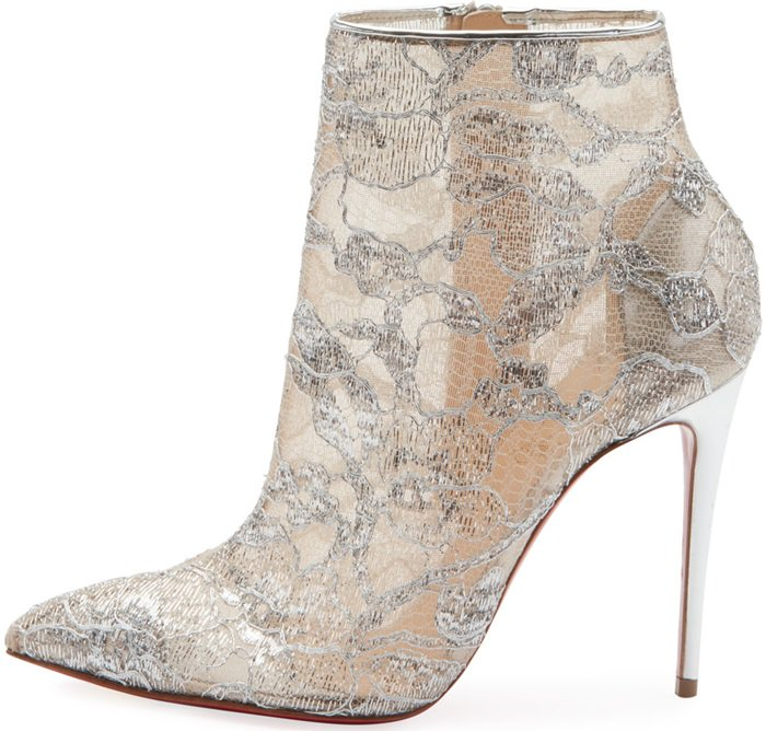 Christian Louboutin Gipsy bootie in metallic lace with napa leather piping