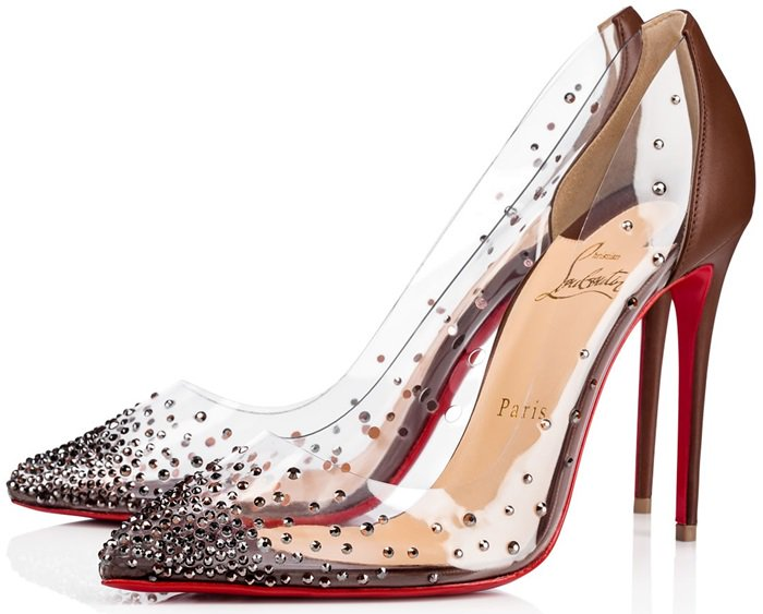 This dazzling pump features a hand-placed crystal gradient set in transparent PVC