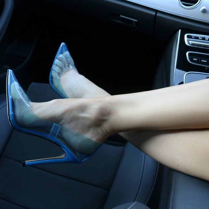 Blue Extra Perspex Pointy-Toe Clear Pumps