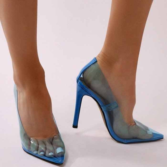 d5c027561d7 Clear Stiletto Heels in Blue   Nude   Pink   Smoke   Yellow   White