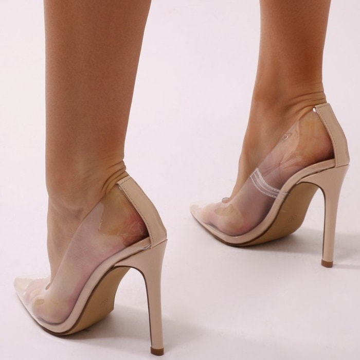 Nude Extra Perspex Pointy-Toe Clear Pumps