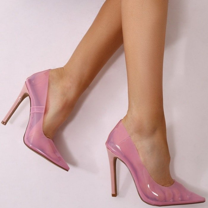 Pink Extra Perspex Pointy-Toe Clear Pumps