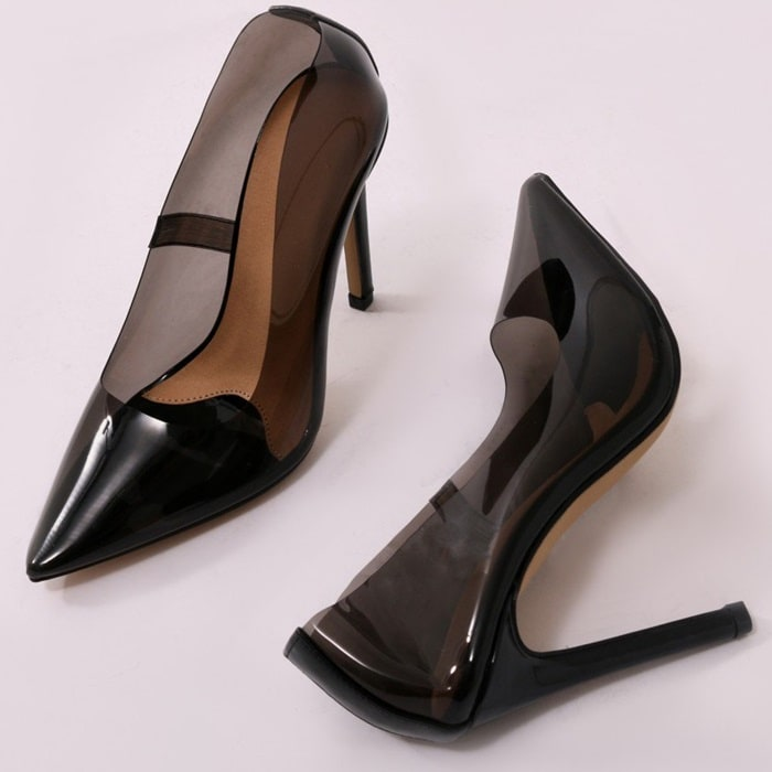 Smoke Extra Perspex Pointy-Toe Clear Pumps