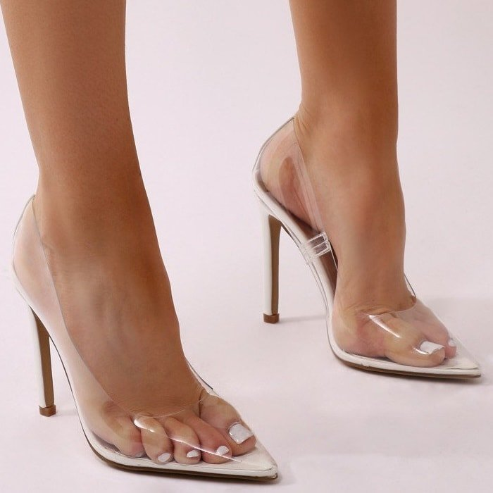 Clear Stiletto Heels In Blue  Nude  Pink  Smoke  Yellow  White-2366