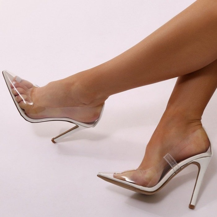 White Extra Perspex Pointy-Toe Clear Pumps