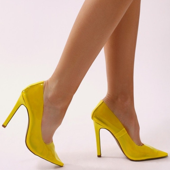 Yellow Extra Perspex Pointy-Toe Clear Pumps